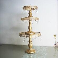 Gold tortenständer metall eisen kristall anhänger kuchen-standplatz-hochzeitsfest dekoration lieferanten backen kuchen zubehör werkzeuge