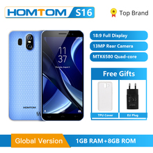 Global Version HOMTOM S16 Smartphone 5.5inch Cellular Cell Phone Quad Core 2GB RAM 16GB ROM Dual Camera Fingerprint Mobile Phone