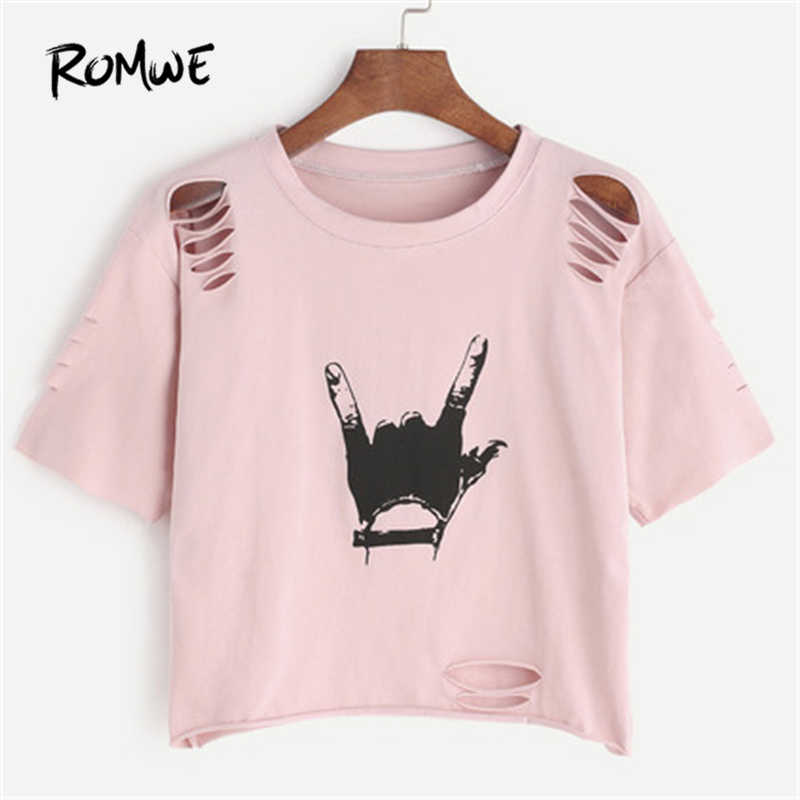 ROMWE Roze Gebaar Print Ripped Crop T-shirt Lente Ronde Hals Korte Mouw Rock Tee Vrouwen Cut Out Casual Top