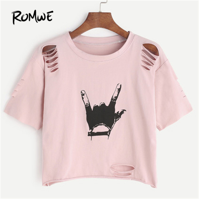 ceab87c8085 ROMWE Pink Gesture Print Ripped Crop T-shirt Spring Round Neck Short Sleeve  Rock Tee Women Cut Out Casual Top