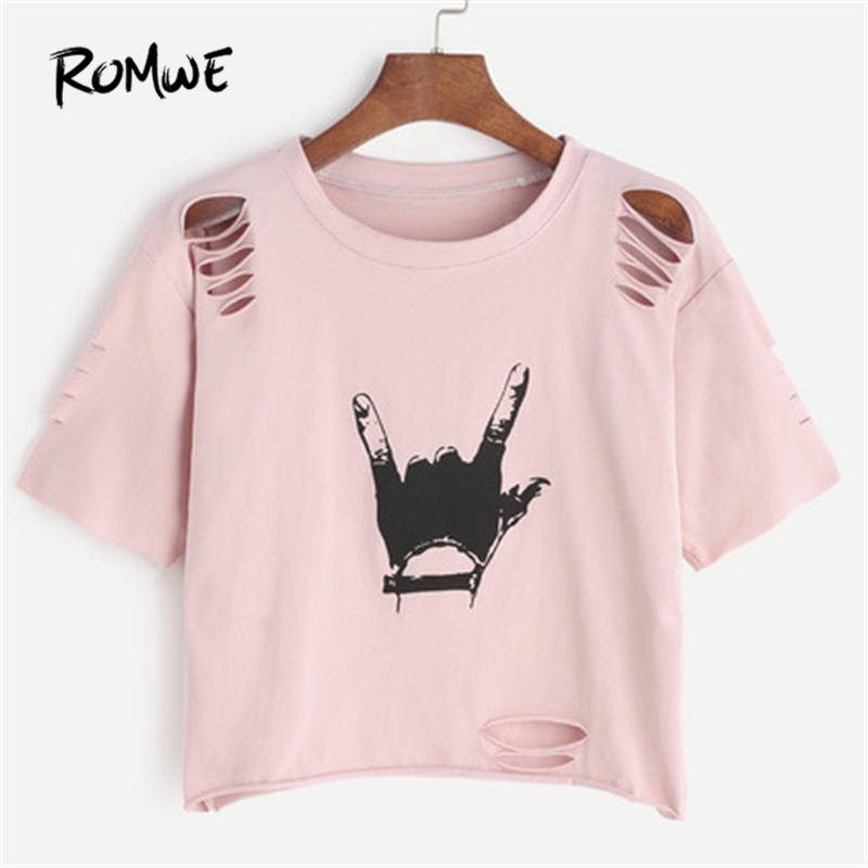 ROMWE Pink Gesture Print Ripped Crop T-shirt 2018 Spring Round Neck Short Sleeve Rock Tee Women Cut Out Casual Top