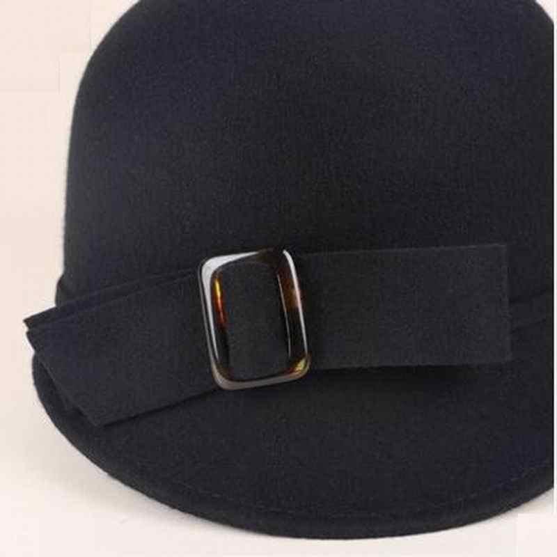 3850f2481fc ... England Style Ladies Wool Hats Black White Flower Wool felt Hat Fashion  Women Church maison michel