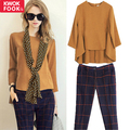 2017 Autumn slim work wear women pants+tops OL fashion formal pant sets plus size Suit Twinset Women Clothing