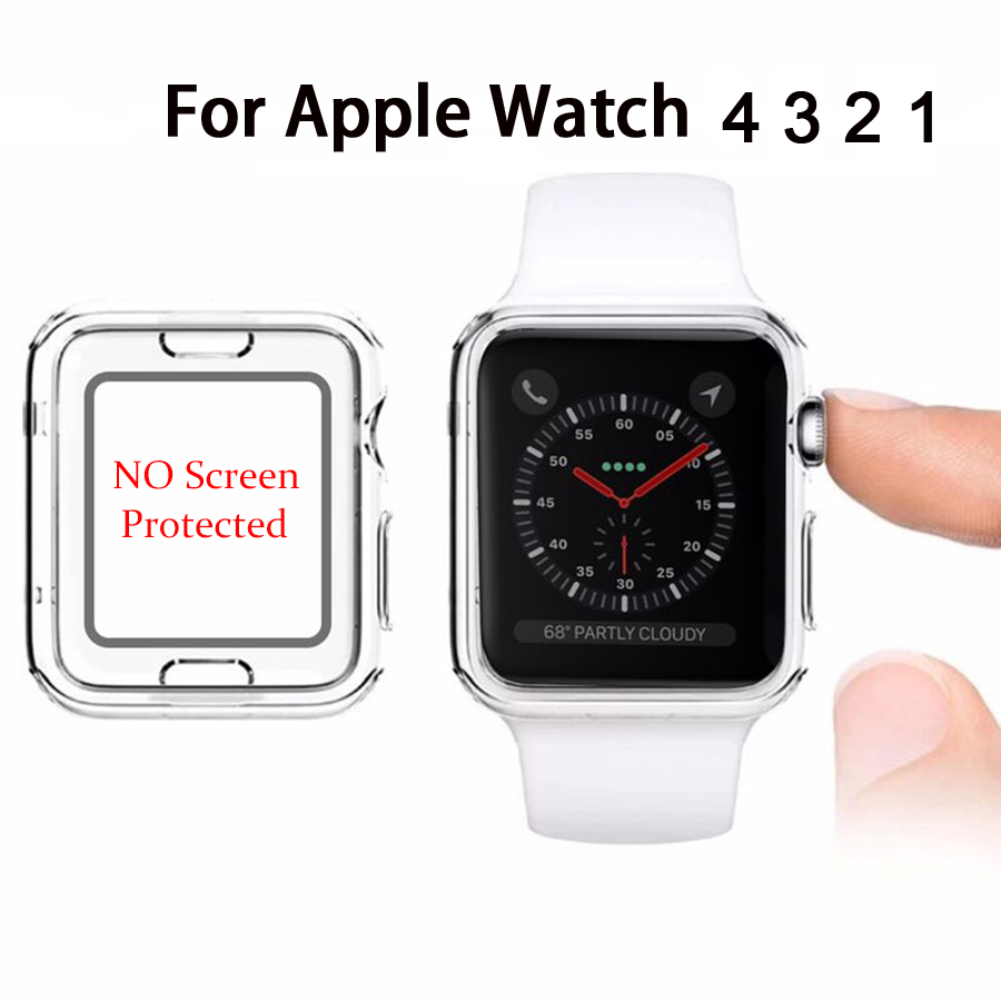 Crystal Clear Tpu Case For Apple Watch 38mm 42mm Soft Smart Ultra Thin Silicone 4 40mm 44mm Protector Frame Iwatch Series