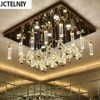 Modern brief rectangle ceiling light bubble column crystal lamp led living room lamps lighting