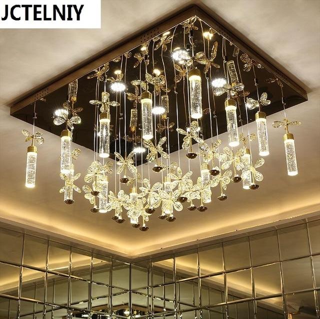 Moderne Kurze Rechteck Deckenleuchte Blasensule Kristall Lampe Fhrte Wohnzimmer Lampen Beleuchtung