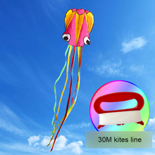 3D 4M Octopus Kite Single Line Stunt /Software Power Sport Flying Kite Outdoor Easy To Fly Kids Fun Toys Gifts 16 colors x vented outdoor playing quad line stunt kite 4 lines beach flying sport kite with 25m line 2pcs handles
