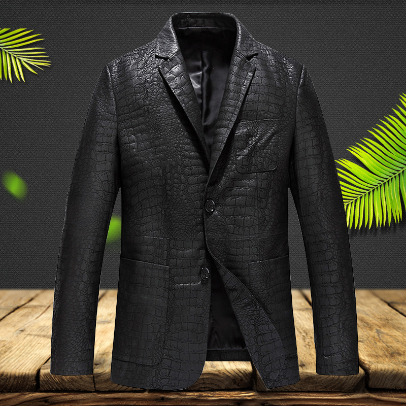2019 New Genuine Leather Jacket Men Slim Fit Luxury Brand Lapel Collar Male Leather Suits Real Sheepskin Jacket(China)