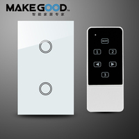 MakeGood US Model 2 Gang 1 Way Remote Switch Touch Glass Screen Light Switch With Remote