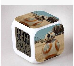 star wars force awakening alarm clock led creative gifts discoloration colorful cartoon shape small alarm clock: small bathroom clock