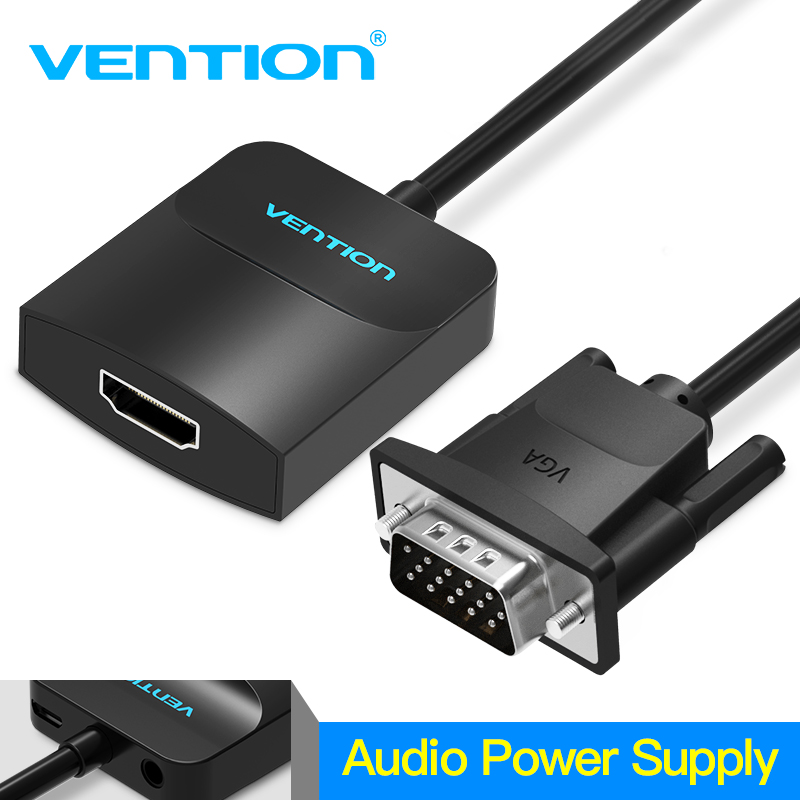 Vention Active VGA to HDMI Adapter Cable Converter with Audio 1080P for PC Laptop to HDTV Projector with built-in chipset egrincy hdmi to vga converter with audio port hdmi2vga 1080p adapter connector for pc laptop to hdtv projector hdmi 2 vga cable