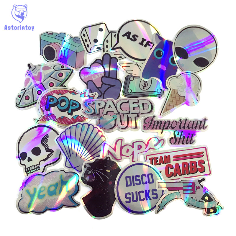 20pcs UFO style skull camera bling bling stickers skateboard decal <font><b>Notebook</b></font> trolley case backpack <font><b>Table</b></font> PVC <font><b>car</b></font> DIY Cool sticker image