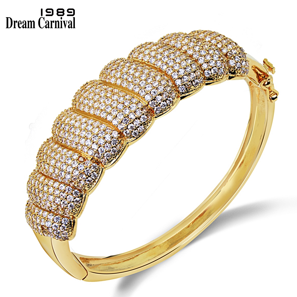 DreamCarnival1989 Wholesale Price CZ Zircon Crystals Paved Fashion Jewelry Woman Copper Metal Bridal Bangle For Women