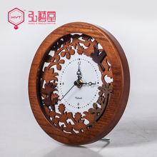 Fashion desktop clock rustic brief wood carved decoration clock and watch wood
