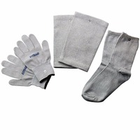 Conductive Silver Fiber TENS EMS Electrode Therapy Gloves Socks Knee Pads 3Pairs Set Electrotherapy Unit For