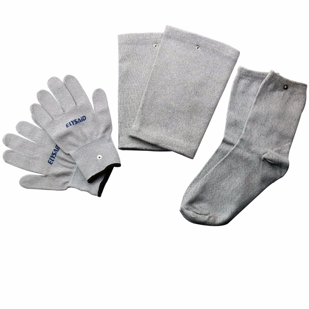 Conductive Silver Fiber TENS/EMS Electrode Therapy Gloves+Socks+Knee Pads 3Pairs/Set Electrotherapy Unit For Phycical Therapy 50 pair conductive massage knee pads 2pcs 2mm hole button lead wires for tens ems electronic therapy machines