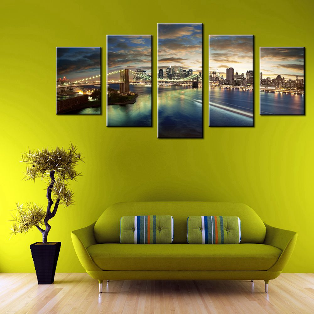 Metropolis Night Brooklyn Bridge New York Cityscape Wall Art Canvas ...
