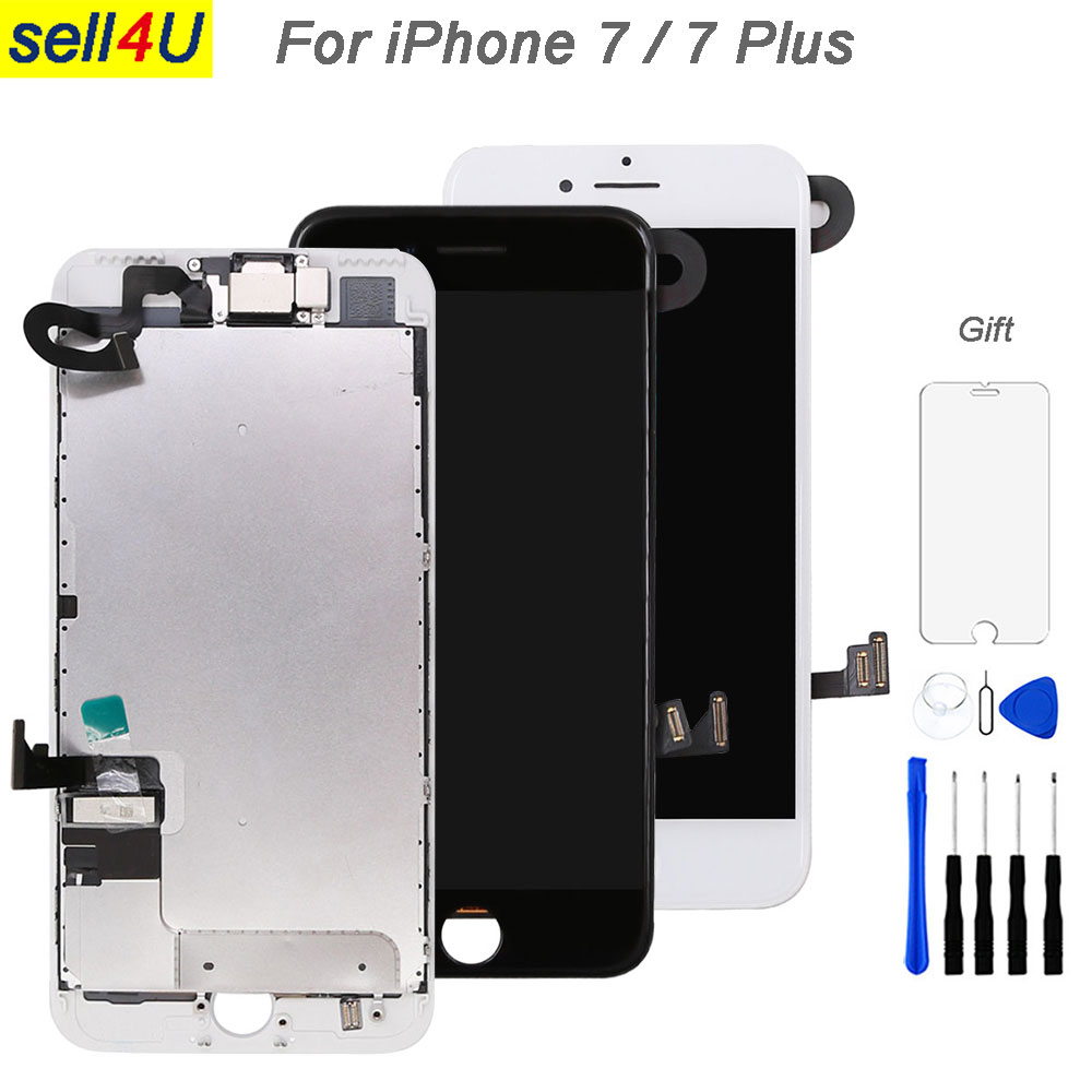 Полный части ЖК-дисплей Экран для iPhone 7 г 7 plus, ЖК-дисплей Дисплей Сенсорный экран планшета замена, предварительно собрать камера + динамик