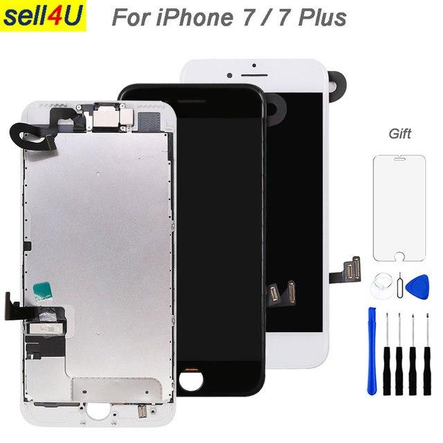 フル iphone 7 7 グラム 7 プラス液晶画面、フロントカメライヤホンスピーカーバックプレートディスプレイタッチスクリーンの交換