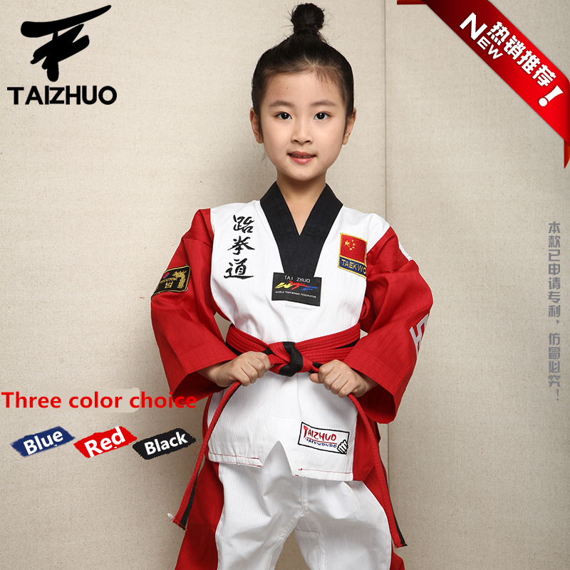 2017 children Kids Taekwondo dobok WTF Approved Taekwondo fitness training Dobok Uniforms Long Sleeve kung fu Clothes110-150cm taekwondo sanda boxing training target black red size m