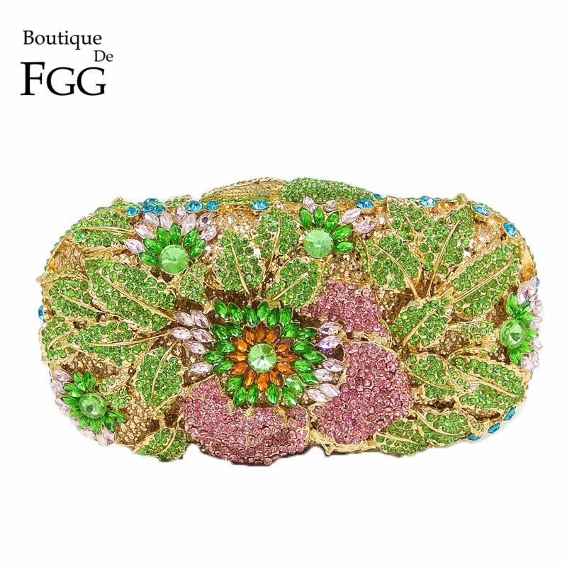 Boutique De FGG Multi Color Green Crystal Diamond Women Evening Bag Wedding Purse Flower Hollow Out Handbag Minaudiere Clutch marulong s0002 women s fashionable flower pattern short sleeved nightdress green multi color