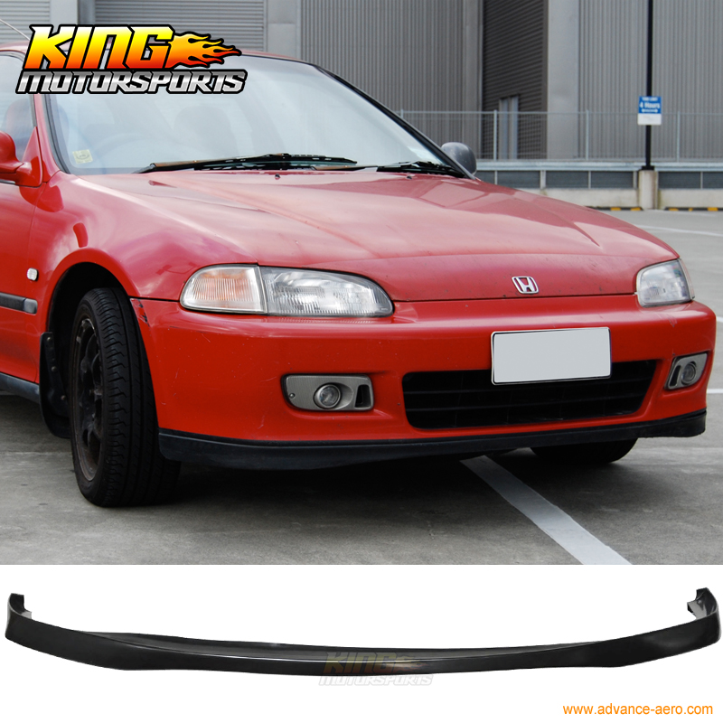 SIR Black PU Front Bumper Lip Spoiler Bodykit Fit 92-95 Honda Civic 2/3DR EG fit 05 06 07 08 09 10 11 12 13 chevy corvette c6 base front bumper lip splitter spoiler pu