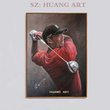 hand made Brand oil painting  A handsome man in golfing red who plays Wearing clothes golf on canvas