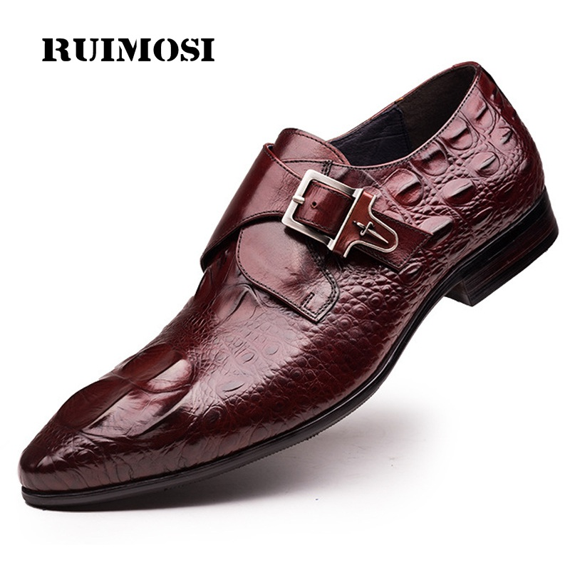 RUIMOSI Pointed Toe Crocodile Man Formal Dress Shoes Buckle Strap Genuine Leather Male Oxfords Men's Wedding Bridal Flats LF93
