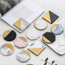 CFen As Marble Grain Coasters Ceramic Stands With Woodern Mat Coffee Tea Cup Pad Round Black Coaters Table Place Mats 1pc