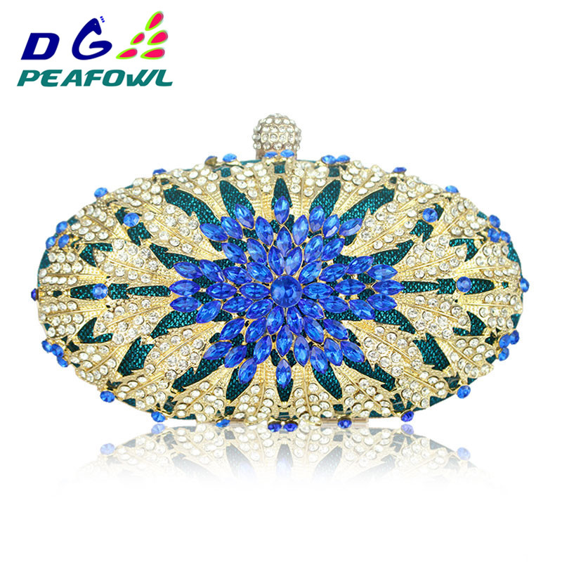 Lady Floral Colorful Diamond Women Clutch Wedding Evening Bag Handbag Toiletry And Purse Shoulder Bag Party Crossbody Bags