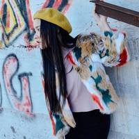 Новое поступление 2018 разноцветные винтажные короткие пальто женщин искусственная Меховая куртка