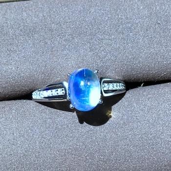 Almei Natural Moonstone Rings for Women, 925 Sterling Silver Fine Jewelry, 6*8mm Gemstone with Velvet Box Certificate FJ254