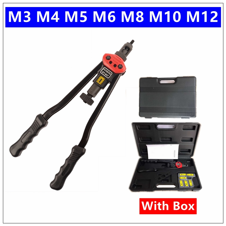 BT-607 Riveter Gun M3 M4 M5 M6 M8 M10 M12 17 Blind Rivet Nut Gun Heavy Hand INSER NUT Tool Manual Mandrels Auto rivet yousailing 16 400mm heavy duty double hand manual riveter gun hand riveting tool hand rivet nut gun m3 m4 m5 m6 m8 m10 m12