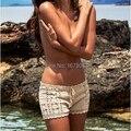 Calções de crochê mulheres de malha de algodão Da Praia do verão calças curtas sportwear swimwear