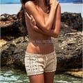 De la Playa del verano pantalones cortos de algodón mujeres pantalones cortos de punto de ganchillo sportwear traje de baño