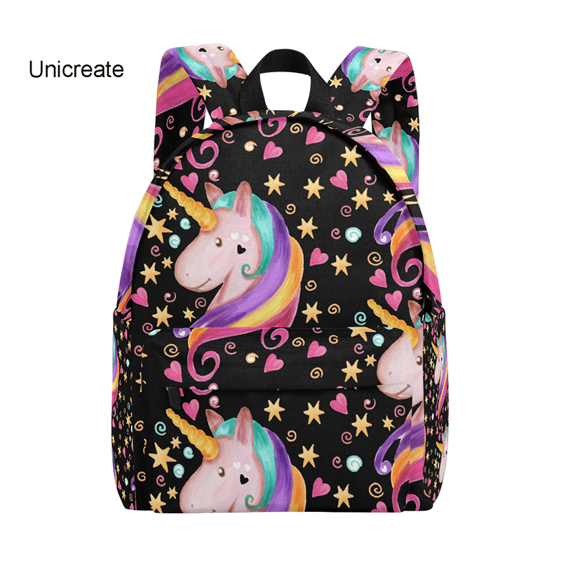 Backpack Cute Love Unicorn Stars Student Book Bags Zipper Canvas Backpack Travel Daypack Girls' School Children Backpack 14inch objective ielts advanced student s book with cd rom