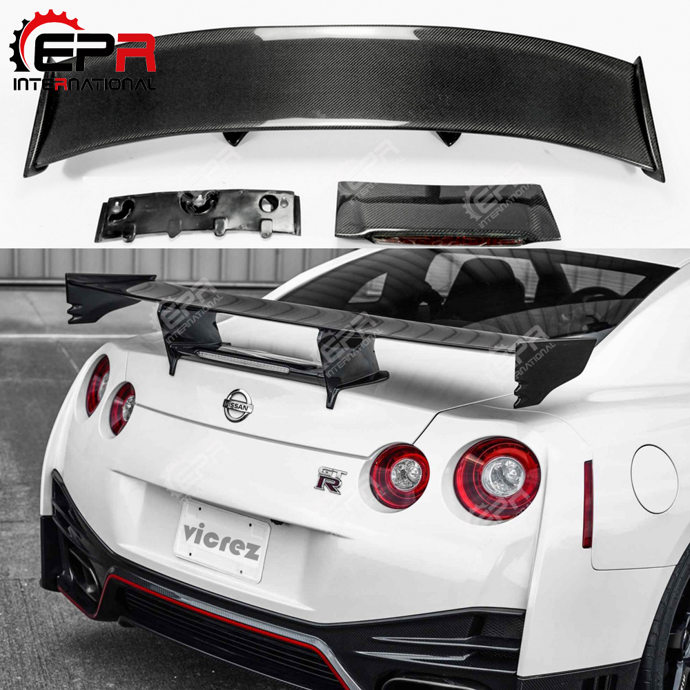 For Nissan R35 GTR Carbon Fiber Rear Spoiler (Included Lights) Nismo Style GT Rear Wing For GTR R35 Body Kit TuningFor Nissan R35 GTR Carbon Fiber Rear Spoiler (Included Lights) Nismo Style GT Rear Wing For GTR R35 Body Kit Tuning