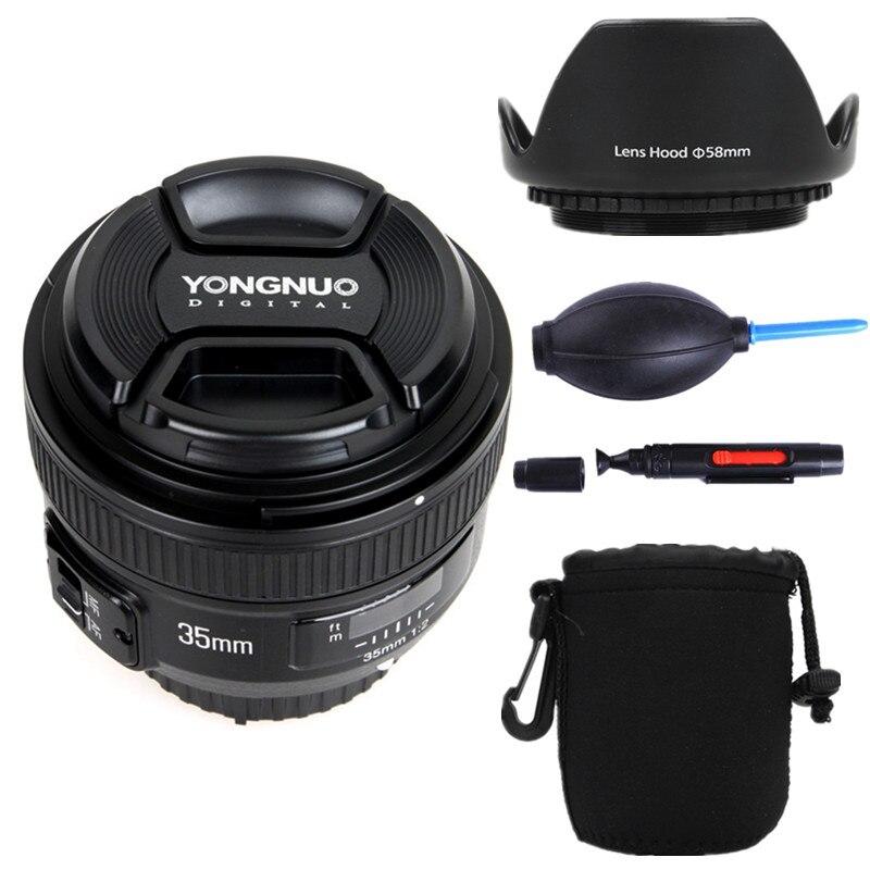 YONGNUO YN35mm F2.0 szeroki kąt na stronie/MF stałej ostrości obiektyw do Nikon F do montażu na D7100 D3200 D3300 D3100 D5100 D90 lustrzanki cyfrowe 35mm F2N w Obiektywy do aparatu od Elektronika użytkowa na  Grupa 1