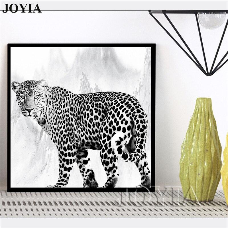 Black White Animal Photography Prints Wall Painting Safari Wall Art leopard Print Canvas For Living Room Office Minimalist Decor