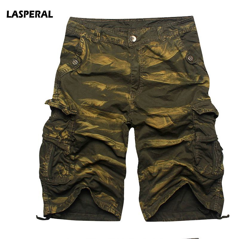 LASPERAL New 2018 Men Cargo Shorts Casual Loose Short Pants Camouflage Military Summer Knee Length Plus Size 5 Colors Shorts Men