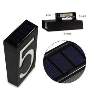 Image 4 - numero de maison exterieur maison plaque de porte lumière solaire numérique LED numéro de porte adresse chiffres numéro de montage mural pour la maison avec batterie