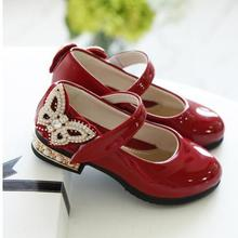 Kids Girls Shoes Bowknot Rhinestone Leather Shoes S