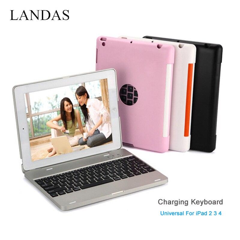 Universal Bluetooth Sans Fil Charge Du Clavier Pour iPad 3 2 4 cas Stand Clavier Pour iPad 3 Stand de Couverture De Cas 4000 mAh batterie