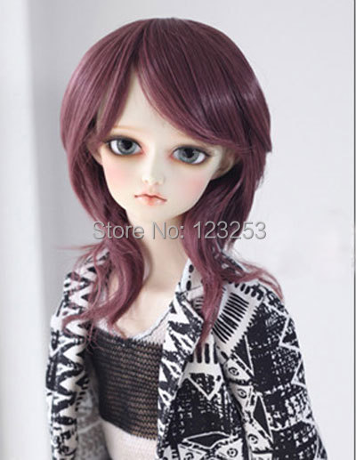 Bjd Wig 9 10 Inch22 24Cm Girl Purplebrown Long Small -1471