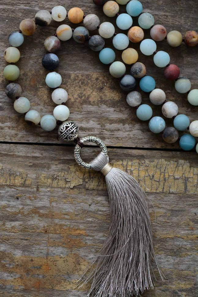 Vintage Necklace Unique 8MM Matte Amazonite Tibetan Charm Cute Tassel Necklace Women Beaded Designer Necklaces Dropshipping