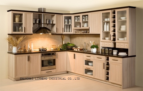 modern solid wood kitchen cabinet lh sw008 - Modern Wood Kitchen Cabinets