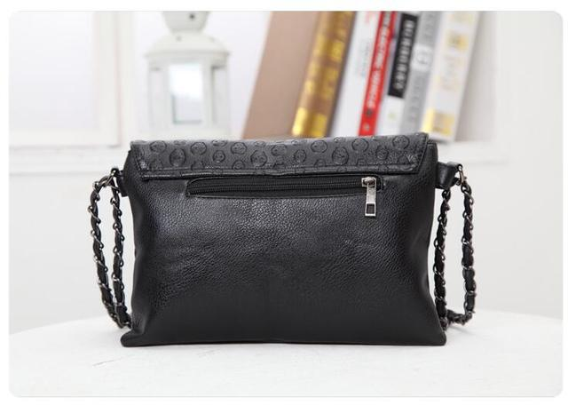 HOT SALE! Women Pu Leather Handbag Purse Designer Hand Bags female summer wild Messenger small bag rivet skull shoulder bag