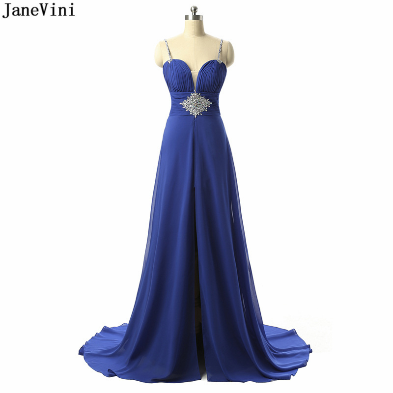 JaneVini Sexy Royal Blue Chiffon   Bridesmaid     Dresses   Spaghetti Straps Beading Backless Sweep Train A Line Special Occasion   Dress