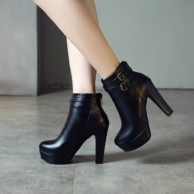 Image 4 - Plus Size 48 New Fashion Women's Boots Sexy High Heels Platform Ankle Boots For Women Black Red Yellow White Heels Shoes Ladies-in Ankle Boots from Shoes