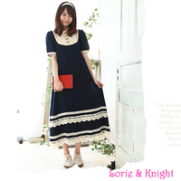 Japanese Style Mori Girl Lace Layer Maxi Dress Navy Blue Elastic Cotton Short Sleeves Summer Long Dress
